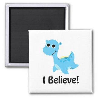 I Believe! Cute Blue Nessie 2 Inch Square Magnet