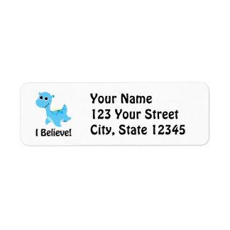 I Believe! Cute Blue Nessie Label