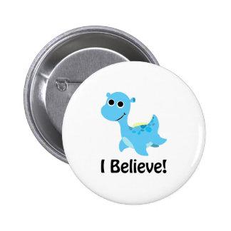 I Believe! Cute Blue Nessie Pinback Button