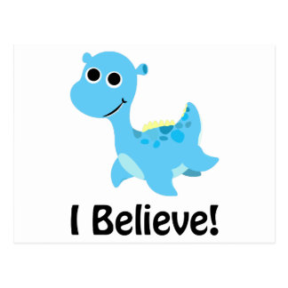 I Believe! Cute Blue Nessie Postcard