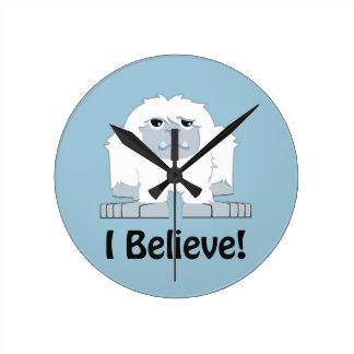 I Believe! Cute Yeti Round Clock