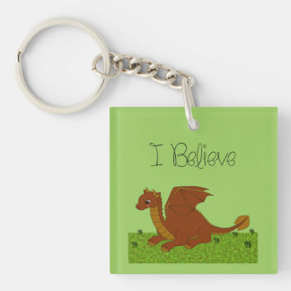 I Believe - Dragon - change color Keychain