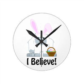 I Believe! Easter Yeti Round Clock