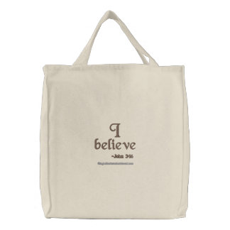 I believe embroidered tote bag