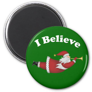 I Believe Flying Santa Magnet