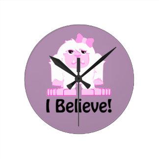 I Believe! Girl Yeti Round Clock