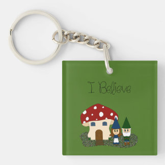 I Believe - Gnomes - change color Double-Sided Square Acrylic Keychain
