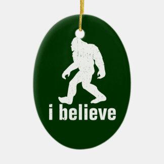 I Believe - green and white Ceramic Ornament