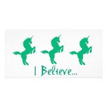 I Believe Green Unicorn Design Card