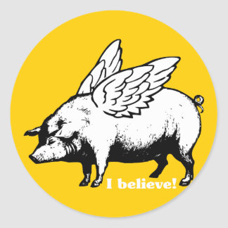 I Believe - If Pigs Could Fly Classic Round Sticker