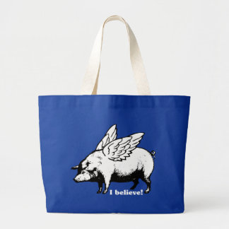 I Believe - If Pigs Could Fly Large Tote Bag