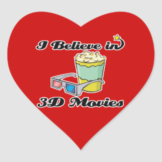 i believe in 3D movies Heart Stickers