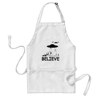 I believe in aliens adult apron