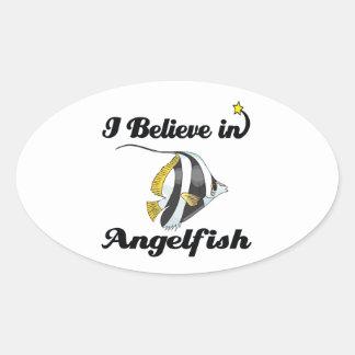 i believe in angelfish oval sticker