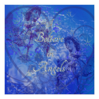 I Believe in Angels #2 - Navy & Royal Blue Poster
