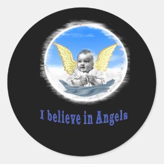 I believe in angels art classic round sticker