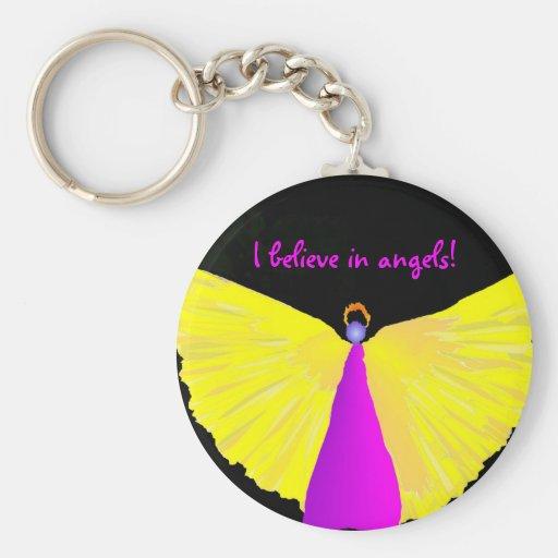 I Believe in Angels! Basic Round Button Keychain