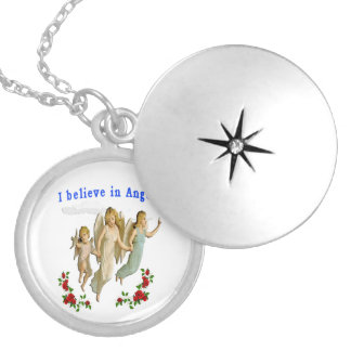 I believe in angels gifts round locket necklace
