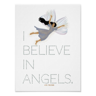 I believe in angels text and woman by TR Forsman Poster