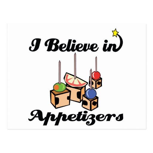 i believe in appetizers postcard