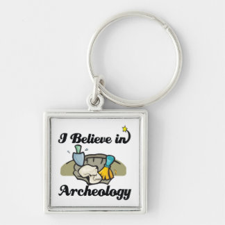 i believe in archeology Silver-Colored square keychain