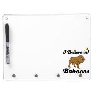 i believe in baboons dry erase board with keychain holder