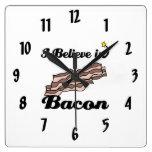 i believe in bacon wall clock