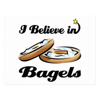 i believe in bagels postcard