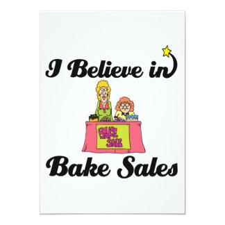 i believe in bake sales 5x7 paper invitation card