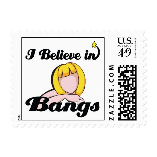 i believe in bangs postage stamp