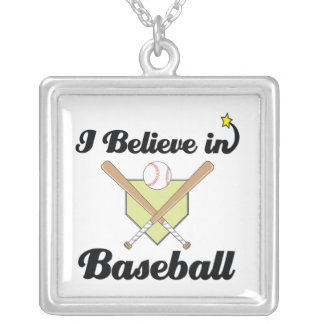 i believe in baseball square pendant necklace
