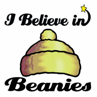 i believe in beanies standing photo sculpture
