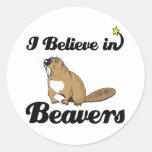i believe in beavers classic round sticker