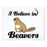 i believe in beavers 4.25x5.5 paper invitation card