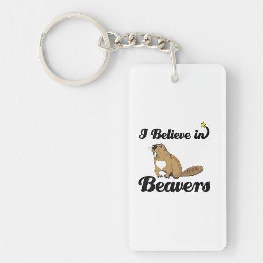 i believe in beavers Single-Sided rectangular acrylic keychain
