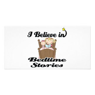 i believe in bedtime stories girl photo card