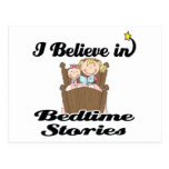 i believe in bedtime stories girl postcard
