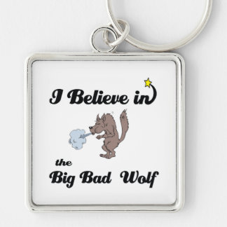 i believe in big bad wolf Silver-Colored square keychain