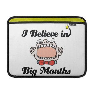 i believe in big mouths MacBook sleeves