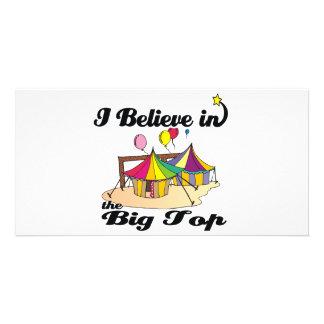 i believe in big top photo card