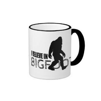 I Believe in Bigfoot  Funny Sasquatch Ringer Coffee Mug