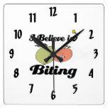 i believe in biting square wall clock