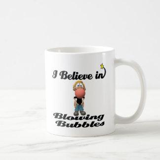 i believe in blowing gum bubbles coffee mug