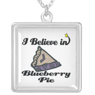 i believe in blueberry pie square pendant necklace