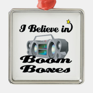 i believe in boom boxes square metal christmas ornament