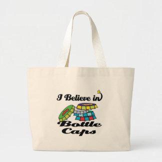 i believe in bottle caps tote bags