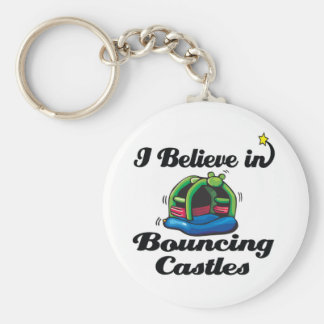 i believe in bouncing castles basic round button keychain
