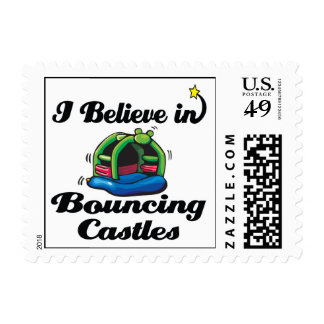 i believe in bouncing castles postage stamp