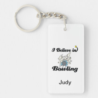 i believe in bowling Double-Sided rectangular acrylic keychain