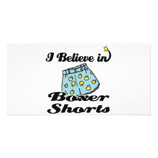 i believe in boxer shorts photo card